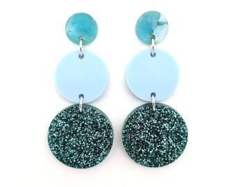 Triple Tier Dangle Earring - teal glitter, pastel mint green and blue
