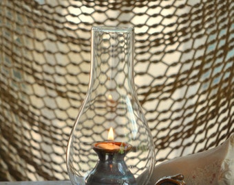 Pottery Oil Lamp with globe in Opal Glaze