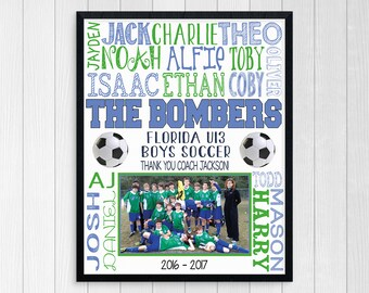 SOCCER COACHES GIFT ~ Printable Soccer ~ Custom Soccer Gift ~ Boys Soccer ~ End of Year Soccer Gift ~ Soccer Team Photo ~ Soccer Thank You