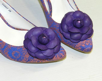 Leather flower Camelia shoe clips, genuine leather flower shoe clips, flower shoe clips-camelia PURPLE! Ideal Christmas gift!