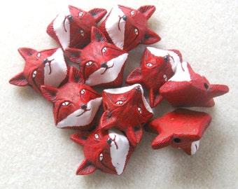 Peruvian Ceramics Red Fox Head Pendant Bead Craft Supplies Animal Head Beads Jewelry Making Bead Supplies Ceramic Beads (2)