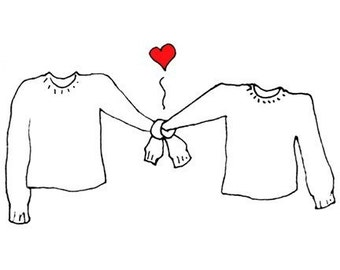 Sweaters Holding Hands in Love Notecards