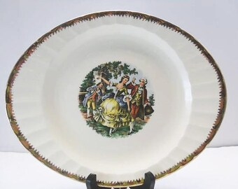 Cronin China Colonial Couple Platter / 1950's Dinnerware / National Brotherhood Of Operative Potters