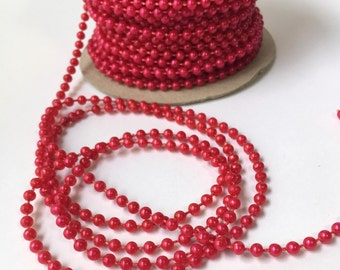 4 Yards Red Faux Pearl Trim Bead Accent for Crafting, Scrapbooking, Decoration