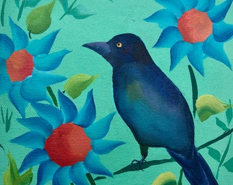 Grackle in the Sunflower Garden on Deep Edge Canvas V2