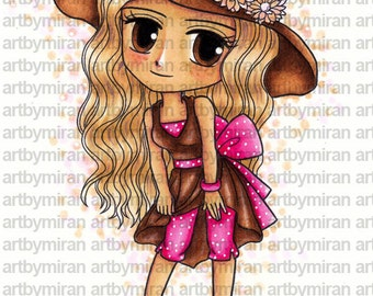 Instant Download Cute Digi Stamp-Fashionista, Digital Stamp, Coloring page, Printable Line art for Card and Craft Supply, Art by Mi Ran Jung