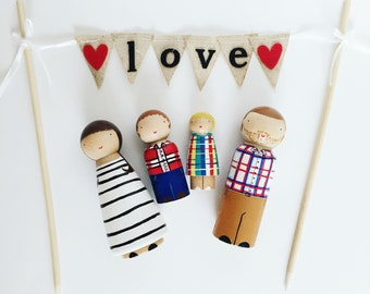 Custom family portrait of4/wooden family of 4/custom peg doll family of 4/dollhouse family/personalized peg people family/christmas kids
