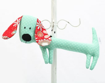 Light Blue Rattling Dachshund / Stuffed Dog Sewn Premium Quality Fabric / Soft Toy / Rattle