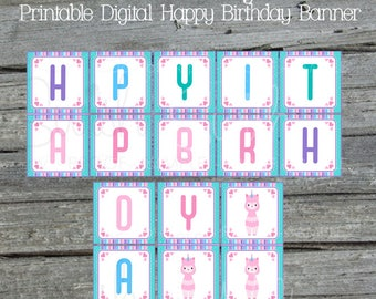 Llamacorn Birthday Banner | Llamacorn Printable Banner | Digital Download | Printable sign | Instant Download | Birthday Llama