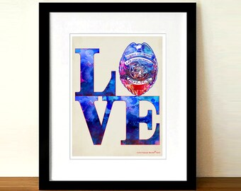 """Fine Art Print: -  """"Watercolor Love Police"""" -They Need Love too! - 8.5""""x11"""", Police Officer gift, Police Badge print, Police Fundraiser gift"""