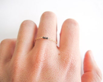 delicate ring, thin 14k gold filled ring, sterling silver ring with 3 tiny genuine black diamond beads, dainty ring, delicate diamond ring