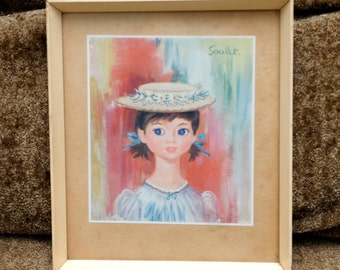 vintage big eye art GIRL with a HAT framed wall decor by Soulet