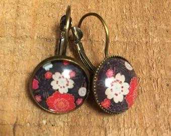 Cabochon earrings Leverback dangle fancy retro vintage