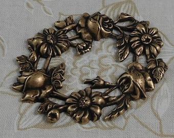 LuxeOrnaments Oxidized Brass Filigree Floral Wreath Focal Connector (Qty 1)  F-0840-B