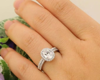 2.0 carat Halo Wedding Ring Set Oval Cut Ring Halo