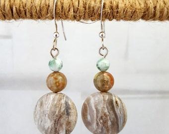 Grey Agate, Epidot, and Tree Agate Earrings
