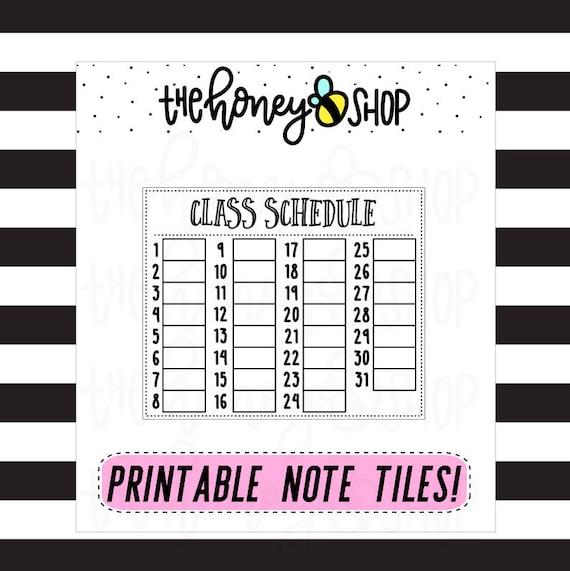 class schedule printable