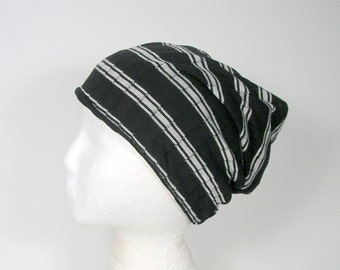 FREE SHIPPING Black and White Striped Beanie Jersey Knit Beanie Mens Slouchy Hat Custom Size Hats Lightweight Beanies Lightweight Hats