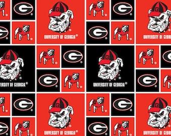 University Of Georgia Bulldogs UG Collegiate Cotton Fabric 1 Yard Sports Team 100% Cotton