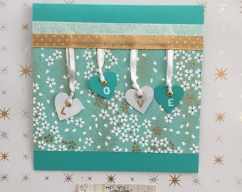 Romance card or Valentine LOVE turquoise/white/gold