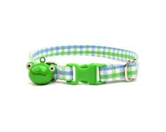 blue and green micro-check CAT Collar with your choice of bell or charm