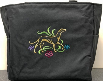 Embroidered 'Graceful Greyhound' Galgo Zippered Tote Bag in Black by JeanieSews4Fun