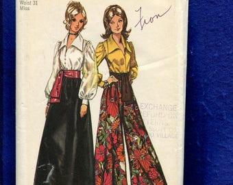 1970's Simplicity 5235 Retro Hostess Pants Evening Skirt & Romantic Pirate Blouse Size 18 UNCUT