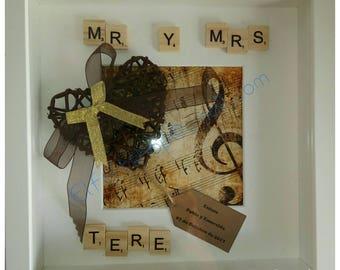 Cuadro scrabble regalo boda, bautizo, novios, convite