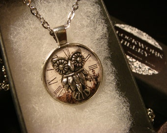 Small Silver Owl over Clock Face  Pendant Necklace (2258)