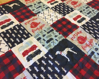 Baby Quilt Crib Quilt Crib Bedding Baby Boy Patchwork Style Quilt Fire Fighter Fire Truck Firefighter Red Blue