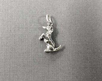 Dachshund Sterling Silver Charm, Dog charm, Doxie, Weiner charm, Pet charm, 3D charm Weenie Charm - 925 sterling silver Charm - SP505
