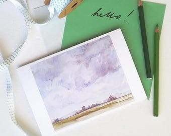Under the clouds / Watercolor landscape / Greeting card