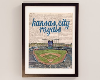 Kansas City Royals Dictionary Art Print - Kauffman Stadium - Print on Vintage Dictionary Paper - Baseball Art, KCMO, Kansas City Missouri
