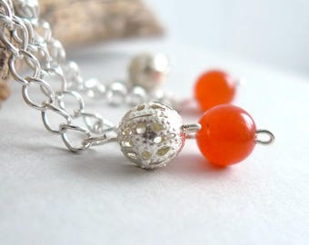 Orange Jade Dangle Earrings - Semi-Precious Gem Stone Silver Earrings - Long Silver Chain Drop Earring - Orange Round Bead - Minimal Jewelry