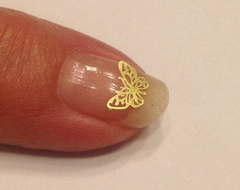 20 pieces of gold metal Butterfly nail decals 6 mm (S11/5)