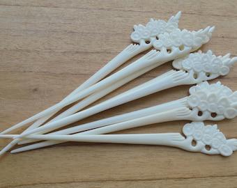 1 Prong Flower Bone Hair Sticks, Hair Pin, Hair Fork, Hair Accessories HS 56-2