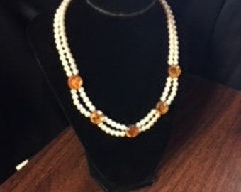 Pearl Necklace with Golden Yellow Accent