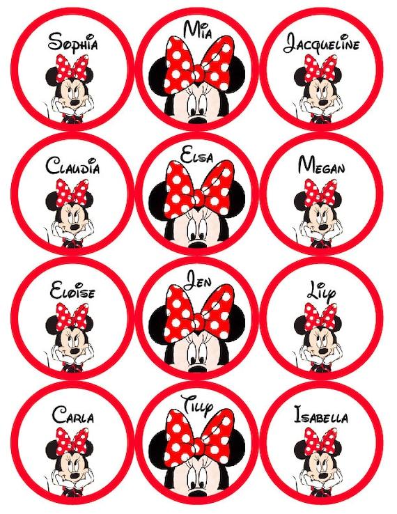 Minnie o Mickey Mouse etiquetas personalizadas impresas y