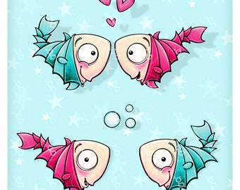 "Digi Stamp Set ""fishes"""