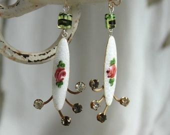 Hand painted roses enamel Rhinestone assemblage earrings, antique rhinestones, enamel roses, bling, wedding vintage jewelry rosettes