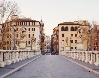 """Rome Italy Print, Rome Wall Art Print, Ponte Sant'Angelo, Italy Wall Decor, Travel Decor, Fine Art Photography, City Art """"Alba"""""""