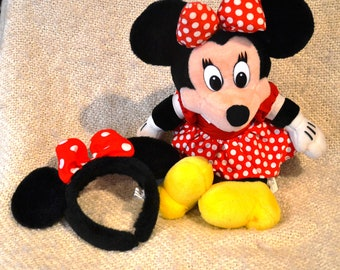 """MINNIE MOUSE DISNEY Red Polka Dot Dress and Bow. Plush, 19"""" plus Disney Ears from Disneyland.Geat condition, rarely used."""