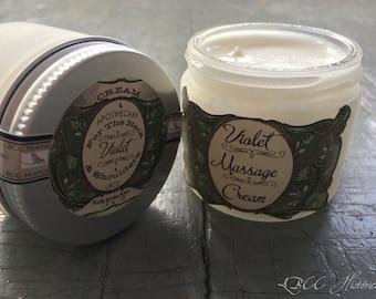 1918 Violet Massage Cream For The Neck & Shoulders  Aphrodisiac  Natural Cleanser Natural Moisturizer Natural Makeup Remover Violet Cream