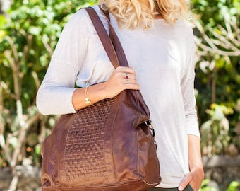 SALE. SANDSTORM. Brown leather tote bag / brown leather bag / brown leather purse / brown leather crossbody.