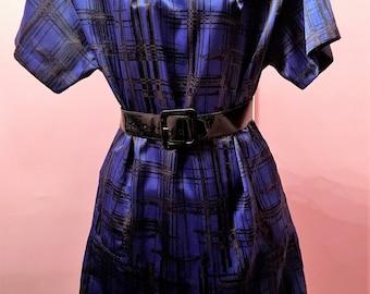 80s Satin Cobalt Blue and Black Plaid Dress Size 18