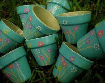 Small Painted Pots - Kids Party Favors - Little Flower Pots - Sets of 15, 20, 25