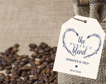 The perfect blend navy gift tag, wedding favor tags, gift label printable template, wedding favor label template, favor tags, instant PDF