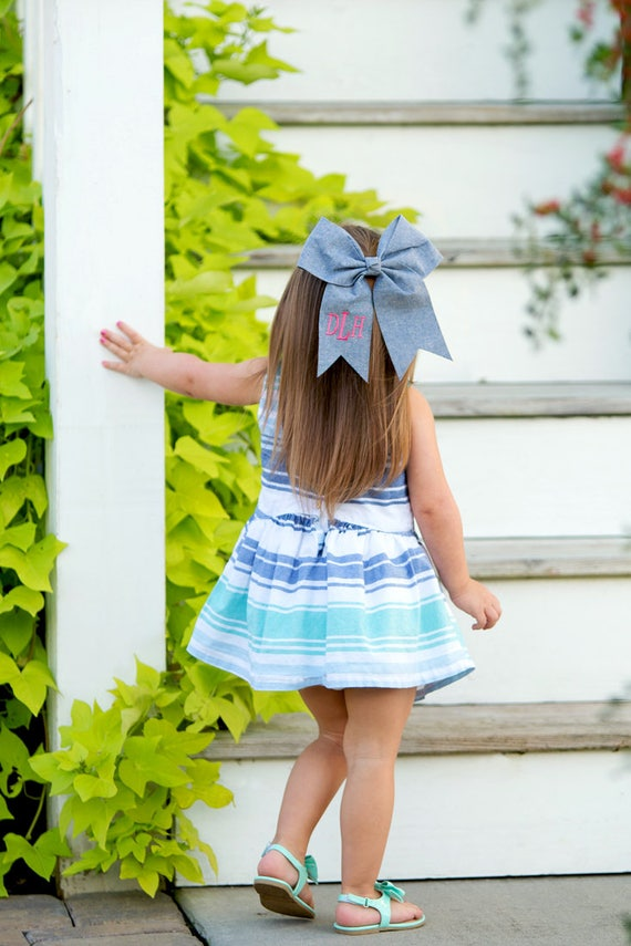 SALE - Monogrammed Chambray Hair Bows