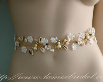 SALE-Ivory white Flower with Small pearl and shell Wedding Bridal dress sash belt,  Shell wedding dress sash,seashell wedding dress belt