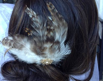 Feather Fascinator, Wedding Hair Comb - Wedding Feather Hair Comb, Bridal Hair Comb, Feather Hair Comb, Feather Fascinator